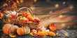 Leinwandbild Motiv Thanksgiving pumpkins with fruits and falling leaves