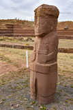 The ancient 'El Fraile' monolith at the Tiwanaku archeological site, near La Paz, Bolivia - 220631743