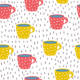 Seamless pattern with cute cups. Funny kitchen print. Vector hand drawn illustration. - 220635133