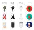 AIDS tape, tablets, opium poppy, a tube for hashish.Drug set collection icons in cartoon,black,outline,flat style vector symbol stock illustration web.