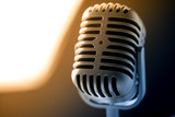 Retro style microphone in party or concert - 220636555