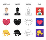 Jeweler, pliers, gold ore, garnet in the form of heart. Precious minerals and jeweler set collection icons in cartoon,black,outline,flat style vector symbol stock illustration web. - 220636900