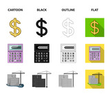 Calculator, dollar sign, new building, real estate offices. Realtor set collection icons in cartoon,black,outline,flat style vector symbol stock illustration web. - 220636940