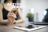 Action plan on the virtual screen. Planning concept. Business strategy. - 220636967