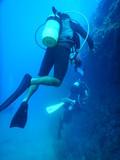 Monitores de buceo en Okinawa, Japon