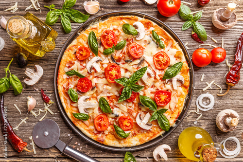 Flat lay with Italian pizza - 220639904