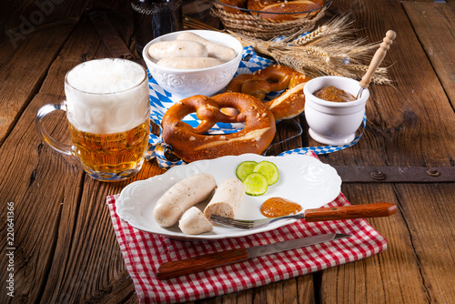 delicious bavarian oktoberfest white sausage with sweet mustard - 220641366