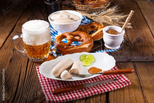 Leinwanddruck Bild delicious bavarian oktoberfest white sausage with sweet mustard