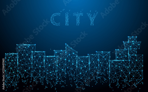 City landscape form lines, triangles and particle style design. Illustration vector