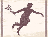 Ancient Greek god Hermes with a wand in his hand and wings on his feet. Image on a beige background with the effect of aging.