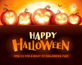 Happy Halloween. Jack O Lantern party. Halloween pumpkin patch in the moonlight.  - 220656754