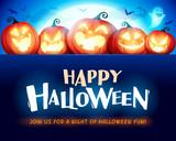 Happy Halloween. Jack O Lantern party. Halloween pumpkin patch in the moonlight. - 220656778