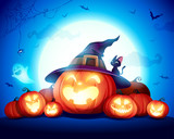 Halloween Celebration Fun Party. Jack O Lantern party. Halloween pumpkin patch in the moonlight.  - 220657787