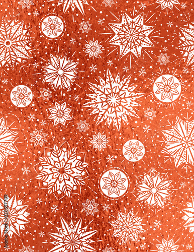 Red glossy Christmas background with white snowflakes and stars,  vector illustration