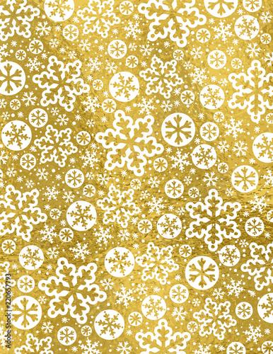 Złoty Bożenarodzeniowy tło z białymi płatkami śniegu i gwiazdami, wektorowa ilustracja
