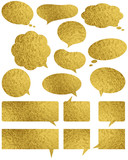 Set of golden glossy labels and bubble over white background, vector - 220657950