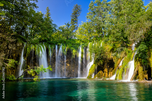 Beautiful waterfall in Plitvice Lakes National Park. Croatia - 220667182