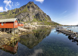 Fishing bay and rorbu in small norvegian village - 220668338