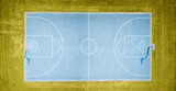 aerial view on outdoor blue basketball court. - 220669364