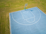 aerial view on outdoor blue basketball court. - 220669384