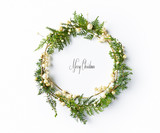 Christmas wreath with natural evegreen twigs. Flatlay. Copy space - 220670926