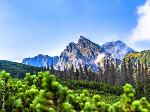 Fototapeta Polish Tatra mountains summer landscape with blue sky and white clouds. Panoramic HDR montage