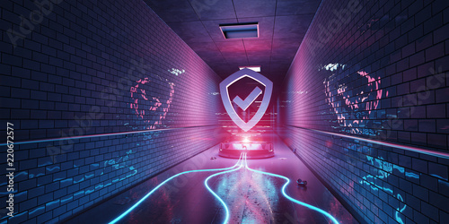 Underground cyber security hologram with digital shield 3D rendering © sdecoret