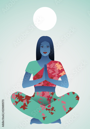 Poster Beautiful Indian girl doing yoga or meditation under a white sphere