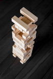 Wood blocks stack game, background concept - 220680766