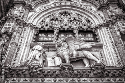 Doge's Palace or Palazzo Ducale in black and white, Venice, Italy
