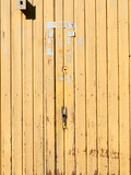 Yellow closed vintage door object background - 220691506