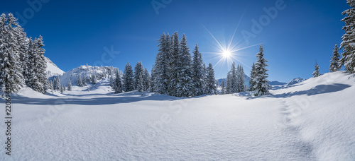 Leinwanddruck Bild Winter in den Alpen