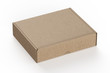 Cardboard box isolated on white background. Realistic rendered mockup.