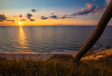 Baltic sea, sunset on the cliffs in the Wolinski National Park - 220695137