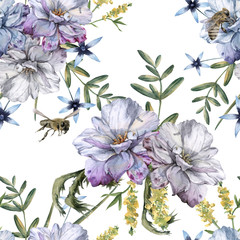 Background of roses with wildflowers and bees. Seamless pattern.