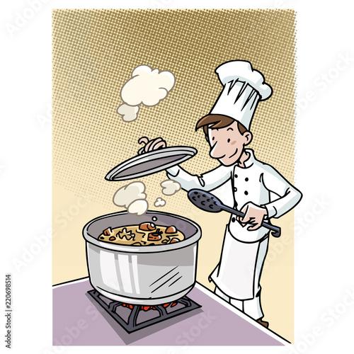 Wall mural Cocinero haciendo un guiso en una olla