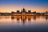 Sunrise at the Parliament building in Budapest, Hungary - 220698794