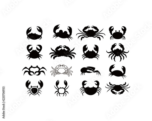 Crab Silhouette Seafood Shop Logo Branding Template For Craft Food