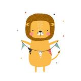 Cartoon lion with garland. Vector hand drawn illustration. - 220708311