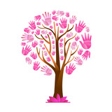 Breast Cancer Care pink hand tree concept for help - 220709504