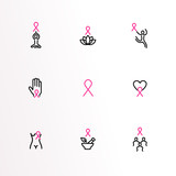 Breast Cancer Care pink ribbon outline icon set - 220709730