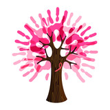 Breast Cancer Care pink hand tree for charity help - 220710178