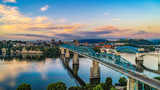 Drone Aerial View of Downtown Chattanooga Tennessee and Tennessee River - 220714351