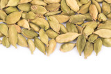 Pile of green Cardamom, cardamon isolated on white background (dried fruits of Elettaria cardamomum) - 220718562