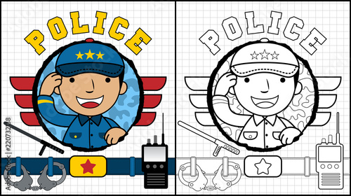 Vector illustration of coloring book or page with funny police cartoon
