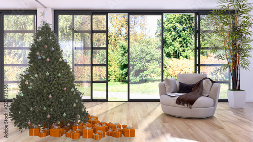 modern bright interiors apartment living room with Christmas tree 3D rendering illustration
