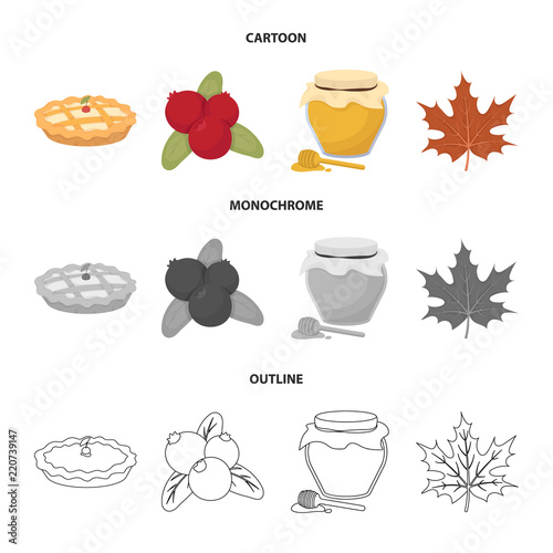 Cranberry, pumpkin pie, honey pot, maple leaf.Canada thanksgiving day set collection icons in cartoon,outline,monochrome style vector symbol stock illustration web.