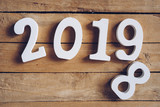 New year 2019 word on wooden table. New Year concept. - 220749126