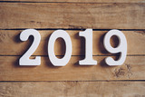 New year 2019 word on wooden table. New Year concept. - 220749155