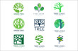 Green tree logo original design set of vector Illustrations in green colors